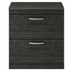 Athena Hacienda Black 800mm Floor Standing 2 Drawer Cabinet & Worktop