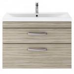 Athena Driftwood 800mm Wall Hung 2 Drawer Cabinet & Basin 1