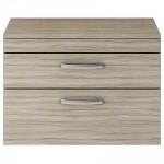 Athena Driftwood 800mm Wall Hung 2 Drawer Cabinet & Worktop