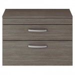 Athena Brown Grey Avola 800mm Wall Hung 2 Drawer Cabinet & Worktop