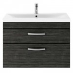 Athena Hacienda Black 800mm Wall Hung 2 Drawer Cabinet & Basin 3