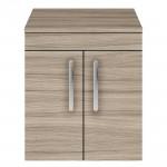 Athena Driftwood 500mm Wall Hung 2 Door Cabinet & Worktop