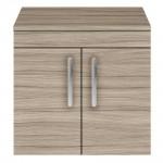 Athena Driftwood 600mm Wall Hung 2 Door Cabinet & Worktop