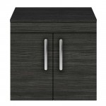 Athena Hacienda Black 600mm Wall Hung 2 Door Cabinet & Worktop