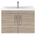 Athena Driftwood 800mm Wall Hung 2 Door Cabinet & Basin 1