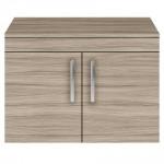 Athena Driftwood 800mm Wall Hung 2 Door Cabinet & Worktop