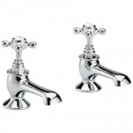 Topaz White Crosshead Bath Taps - Hex Collar