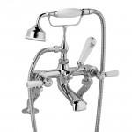 Hudson Reed Topaz White Lever Deck Mounted Bath Shower Mixer - Hex Collar
