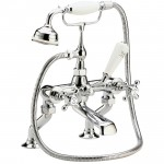 Topaz White Crosshead Deck Mounted Bath Shower Mixer - Hex Dome