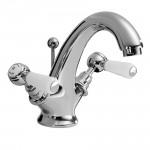 Topaz White Lever Mono Basin Mixer Tap - Hex Collar