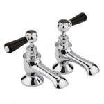 Topaz Black Lever Bath Taps - Hex Collar
