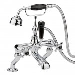Topaz Black Crosshead Deck Mounted Bath Shower Mixer Tap - Dome Collar