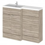 Hudson Reed - Driftwood 1100mm Combination Vanity Unit, WC Unit & L Shaped Basin - Full Depth - L H