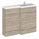 Hudson Reed - Driftwood 1100mm Combination Vanity Unit, WC Unit & L Shaped Basin - Full Depth - R H