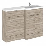 Hudson Reed - Driftwood 1200mm Combination Vanity Unit, WC Unit & L Shaped Basin - Full Depth - R H