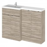 Hudson Reed - Driftwood 1200mm Combination Vanity Unit, WC Unit & L Shaped Basin - Full Depth - L H