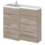 Hudson Reed - Driftwood 1000mm Combination Vanity Unit, WC Unit & L Shaped Basin - Full Depth - L H