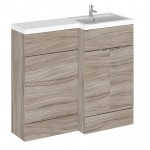 Hudson Reed - Driftwood 1000mm Combination Vanity Unit, WC Unit & L Shaped Basin - Full Depth - R H