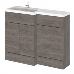 Hudson Reed - Grey Avola 1100mm Combination Vanity Unit, WC Unit & L Shaped Basin - Compact - L H