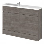 Hudson Reed - Grey Avola 1200mm Combination Vanity Unit, WC Unit & L Shaped Basin - Compact