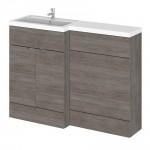 Hudson Reed Hudson Reed - Grey Avola 1200mm Combination Vanity Unit, WC Unit & L Shaped Basin - Full Depth - L H