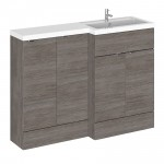 Hudson Reed Hudson Reed - Grey Avola 1200mm Combination Vanity Unit, WC Unit & L Shaped Basin - Full Depth - R H