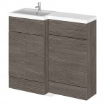 Hudson Reed - Grey Avola 1000mm Combination Vanity Unit, WC Unit & L Shaped Basin - Full Depth - L H