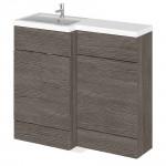 Hudson Reed Hudson Reed - Grey Avola 1000mm Combination Vanity Unit, WC Unit & L Shaped Basin - Full Depth - L H