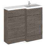 Hudson Reed - Grey Avola 1000mm Combination Vanity Unit, WC Unit & L Shaped Basin - Full Depth - R H