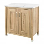 Old London Natural Walnut Traditional 800mm Vanity 2 Door Cabinet & Basin