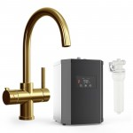 Soho 3 Way Instant Hot Water Kitchen Tap Complete Unit - Gold