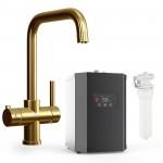 Lisbon 3 Way Instant Hot Water Kitchen Tap Complete Unit - Gold